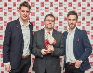 Vidan Lawnes Creative Director David Stretton-Dwones with BHF Fundraising Manager Karl Coppack and twin Jonathan